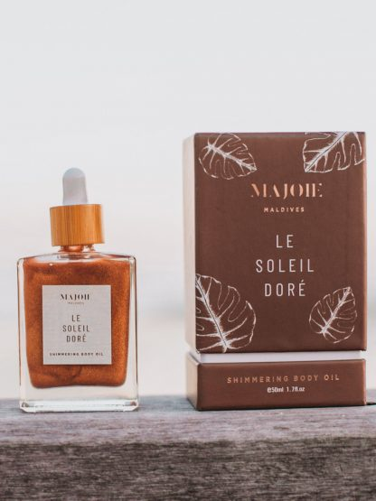 Majoie maldives shimmer body oil made in maldives to empower women in local islands
